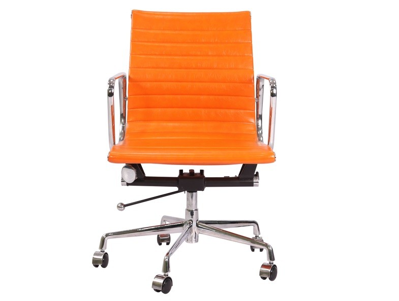 Eames Ea117 Low Back Thin Pad Ripped Orange Leather Office Chair
