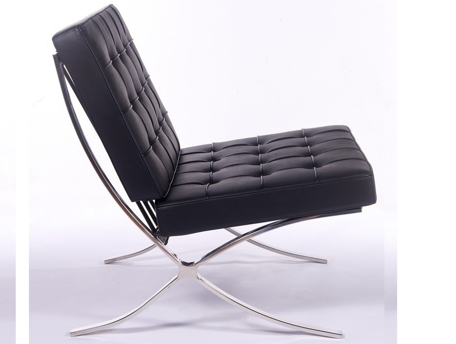 black leather barcelona chair